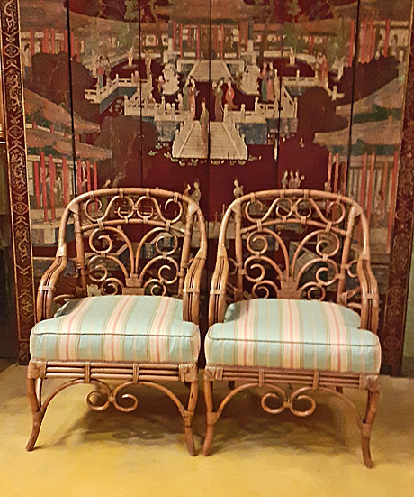 Fine Rattan Arm Chairs