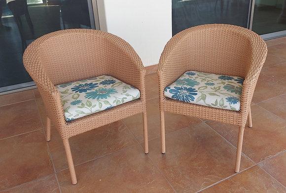 Pair of Wicker Chairs Rattan de Guadalajara, Sunbrella Fabric
