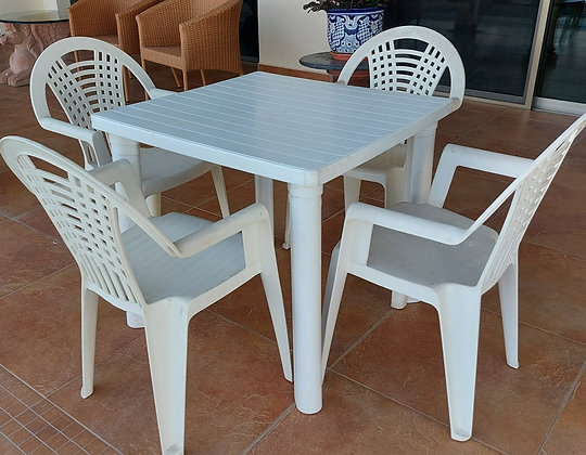 Basic Plastic Patio Table and Chairs, Heavy Duty