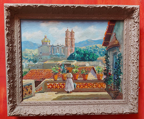 signed-maya-painting-santa-prisca-taxco-oil-painting