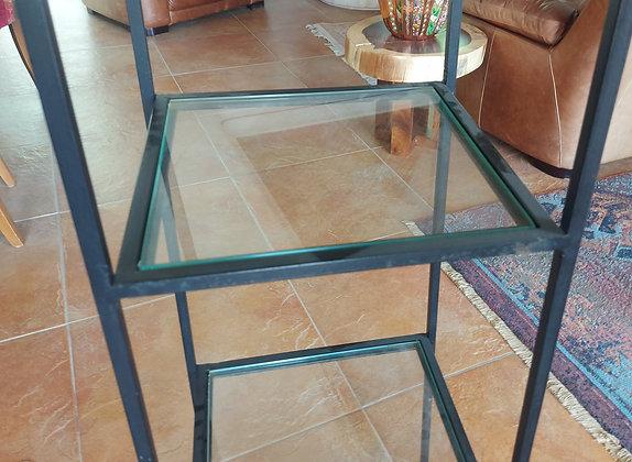 "Sturdy Iron Shelf, 51"" tall, 1/2"" thick glass shelves"