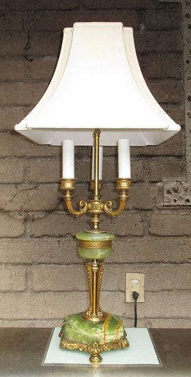 Vintage Green Onyx Lamp, Mutual Sunset Lamp Co.