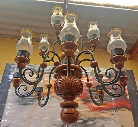 """Classic Mexican Chandelier, Carved Wood, 12 lights, 40"""" diameter"""