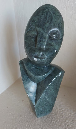 """Inuit Green Soapstone Carving,  N. W. Canada, 14"""" tall"""