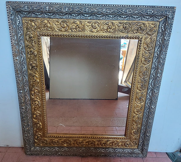 "Antique Gold & Silver Framed Mirror, 36"" by 32"""