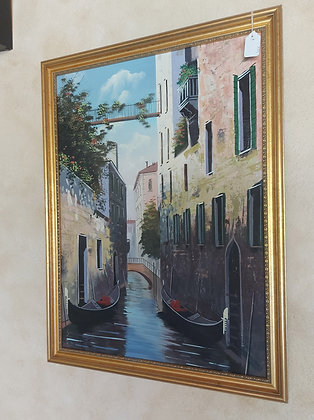 """Giclee Painting of Canals of Venice, 22"""" x 29 1/2"""" . Ex. Condition"""