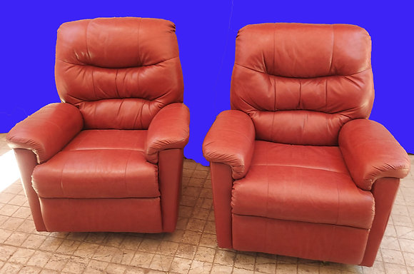 A Pair of Red Leather Recliners,  Ex. Condition