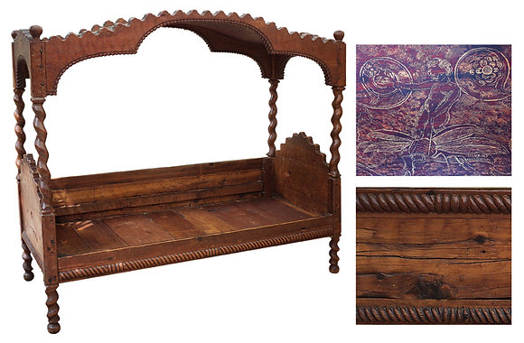 18th-C-Youth-Beds-Solomonic-Column-Hand-Painted-Leather-Canopies-