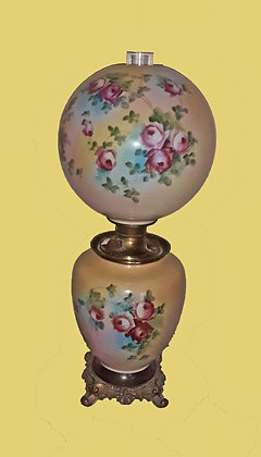 Antique Oil Lamp, hand painted shade