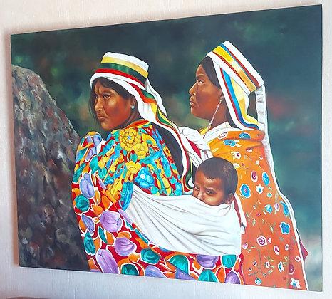 Indigenous Women w/ Child by Ricardo Salcedo, Signed