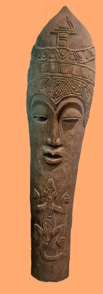 """Huge Carved Palm Wood Mask from Bali,  78"""" tall, Gecko Design"""