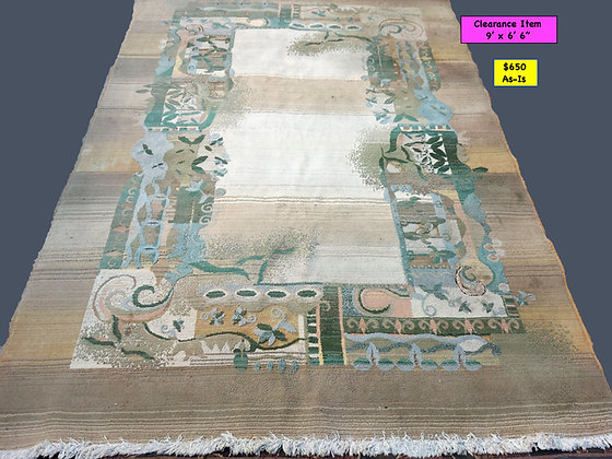 """Machine Made Modern Design Rug, As Is Condition, 9' x 6' 6"""""""