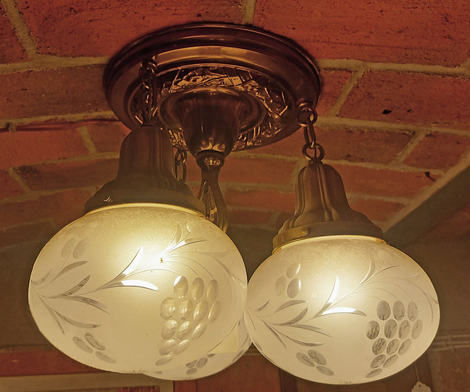 antique-brass-chandelier-frosted-etched-glass-shades