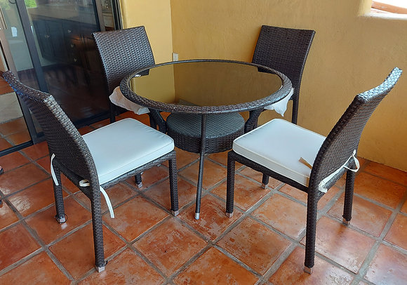 """Patio Table and 4  Chairs, Synthetic Wicker, 40"""" dia. Glass Top"""