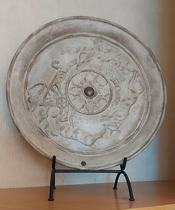 """Billy Moon Charger, signed, w/ base,  21 1/2"""" diameter."""