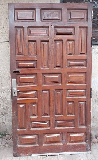 "Vintage Mexican Parota Door, 43"" wide and 80 1/2"" tall, 2"" thick"