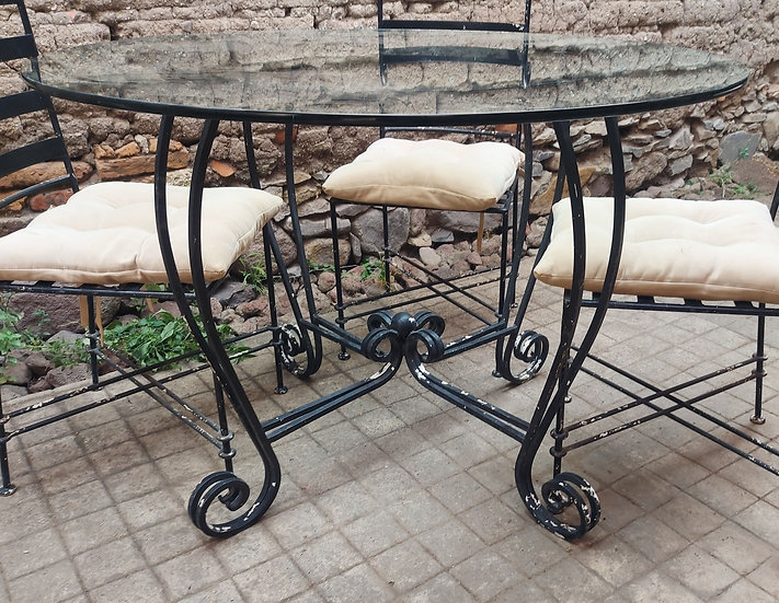 """Mexican Wrought Iron Patio Table and 4 Chairs, 43"""" diameter"""