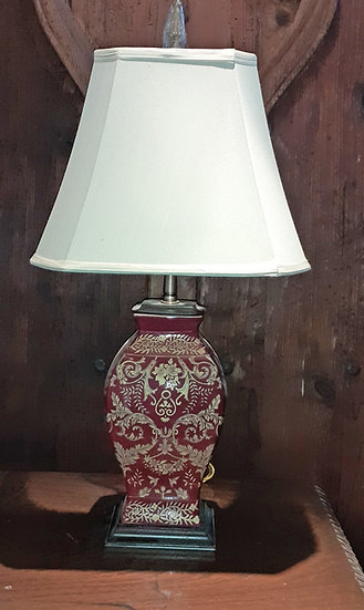 Ceramic Painted Table Lamp on Wooden Base