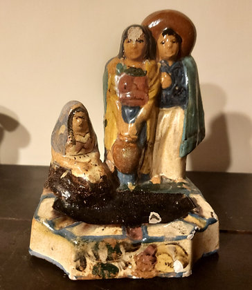 Figural Ashtray,  Couple and Tortilla Maker, Mexican Tourist Pottery