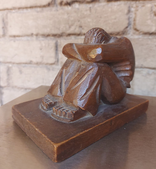 1930's Carved Mahogany Figure of a Resting Man in Huaraches