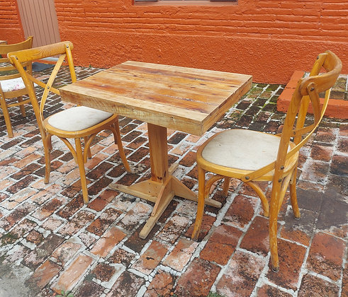 """Restaurant Table & 2 'X' Back Chairs, 31"""" x 23 1/2""""  Table"""