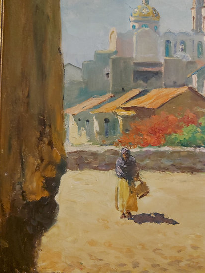 """Mexican-Artist-""""Maya""""-Sta-Prisca-Taxco-Oil-Painting"""