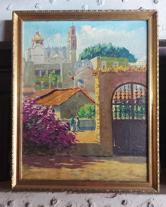 """View of Sta. Prisca (#2), Mexican Artist """"MAYA"""", 1940's-50's, Taxco, Gro."""