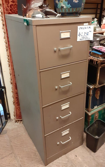 Vintage 4 Drawer Legal Size File Cabinet, with interior rack for files.