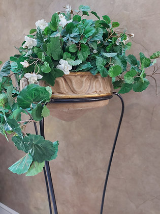 Original Billy Moon Standing Planter, Wrought Iron/Clay