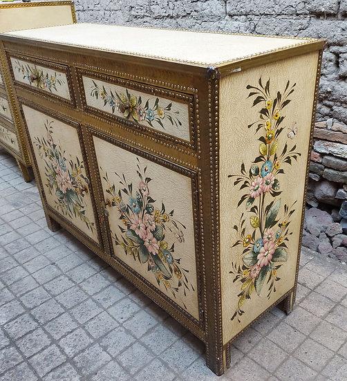 Vintage-Tlaquepaque-leather-top-cabinet-tin-decorations-