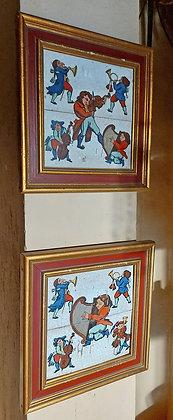 """Pr. Enameled Spanish Tiles, Musicians, 13 1/2"""" square, Framed"""