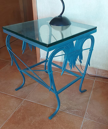 """Mexican Wrought Iron Lamp Table.  22"""" Square, 27"""" tall, 3/4"""" glass top"""