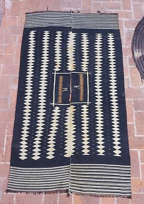 Antique Mexican Jorongo, Indigo Dye &  Natural White Wool