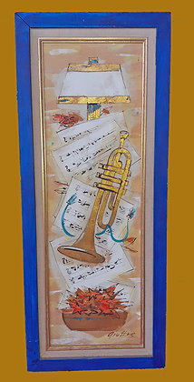 2 Paintings of Musical Instruments, Signed by Giuffre
