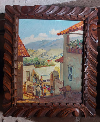"Plaza San Juan, Taxco,  Mexican Artist ""MAYA"", 1940's-50's,"
