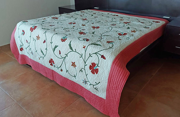 Fabulous Hand Quilted and Embroidered King Size Bed Spread