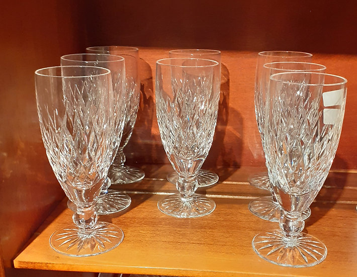 "8 Waterford Fluted Champagnes in Boyne Pattern, 6"" tall"