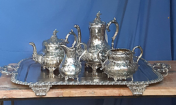William IV Style,  Silver Plate 5 Pc. Tea Set,