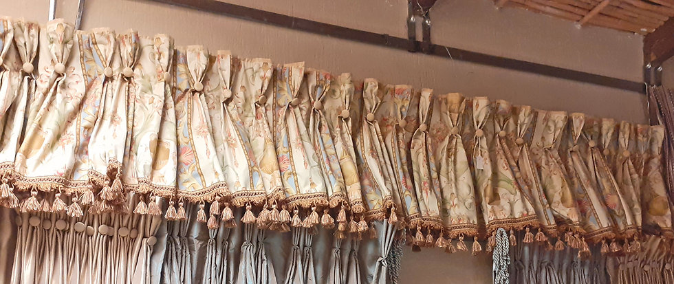 Vintage Custom Made Valance, Tassle Fringe, 9' by 18""