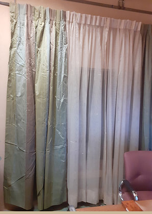 Green, Brown, Silver Stripe Drapes and Sheers, Prs. of Each