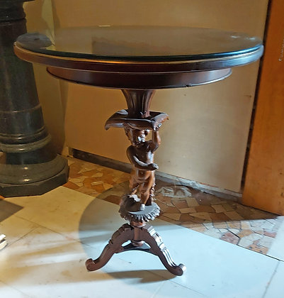 Antique Pedestal Table,  Elaborately Carved of Cupid Base