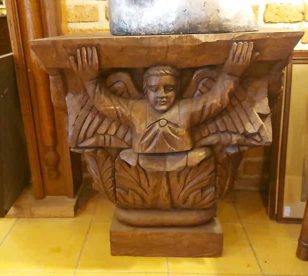 "Carved Wood 'Statue' Pedestal, 28"" tall, 27"" x 20"""
