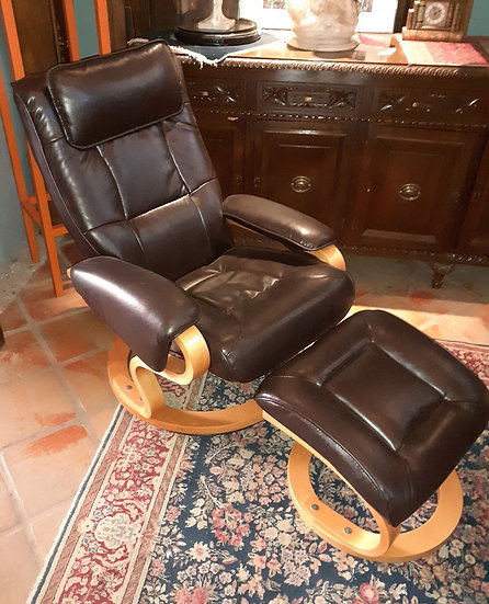 Belnick Lounge Chair w/ Footstool, Leather Recliner