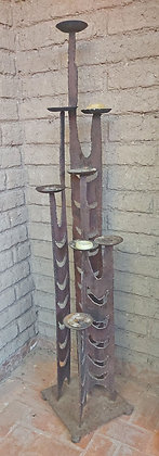 """Hand Forged Iron Candle Stand, Original Design, 70"""" tall"""