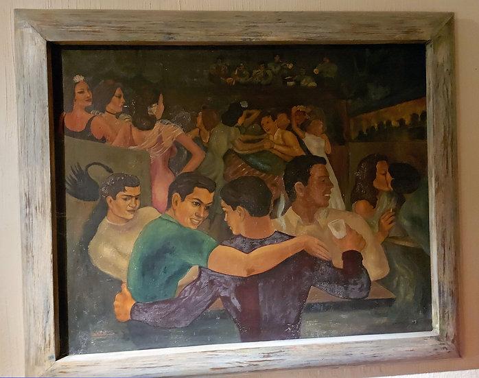 "Signed ""Medina"", Mexican Social Realism School - 1940's"