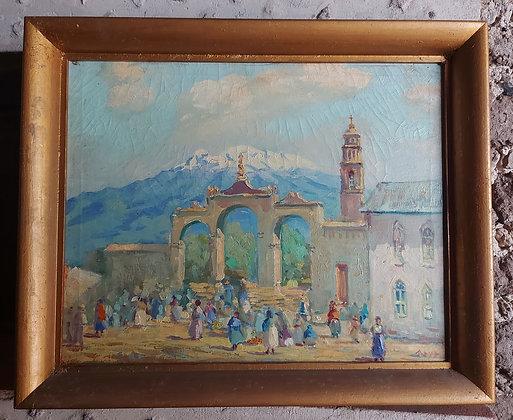 "Iztaccíhuatl Volcano, Mexican Artist ""MAYA"", 1940's-50's, Taxco, Gr"