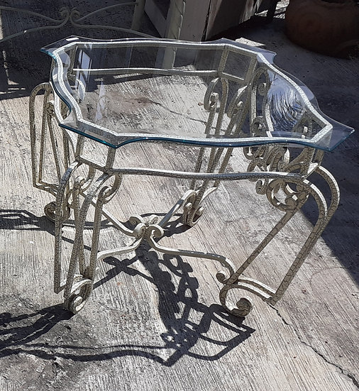 Wrought Iron and Beveled Glass Patio Table,