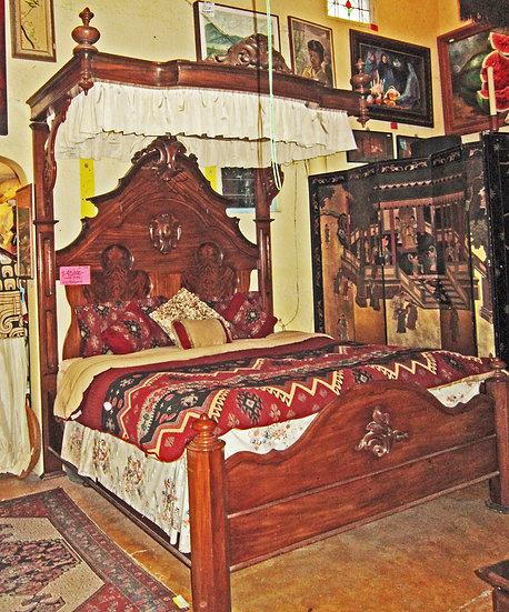 Victorian Walnut Canopy Bed