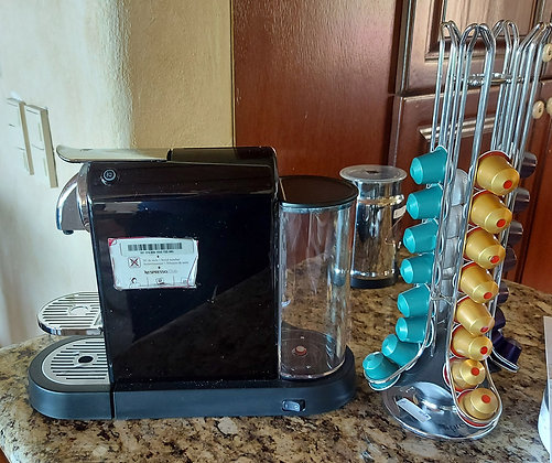 Nespresso Machine, Milk Frother, Capsules and Carousel