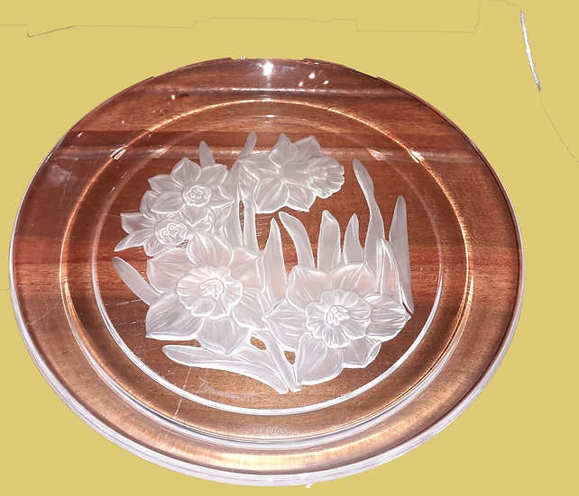 6 Hand Engraved Crystal Salad Plates, signed